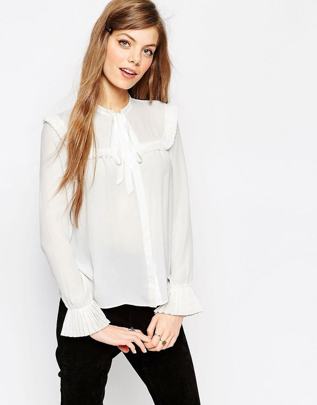 ASOS Pleat Yoke Pussy Bow Blouse
