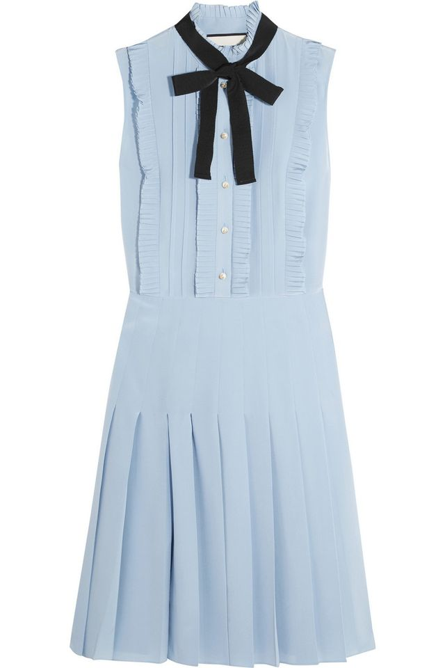 Gucci Ruffled Pleated Silk Crepe de Chine Mini Dress