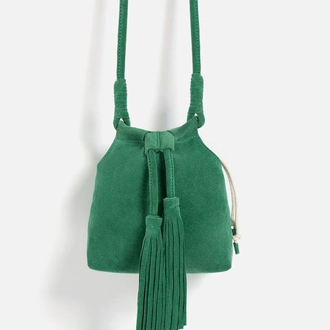 Split Suede Crossbody Bag With Tassels