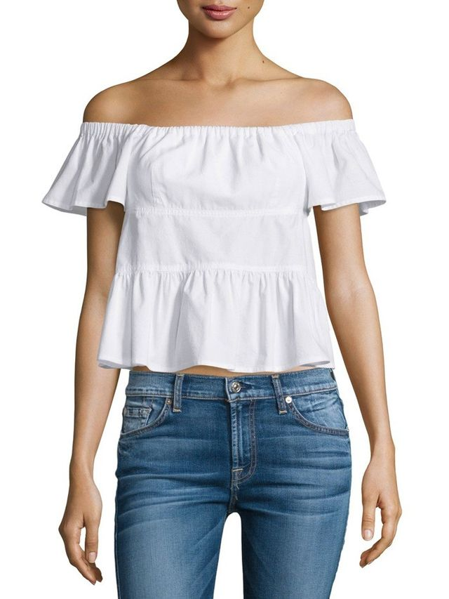 Rebecca Taylor Ruffle Off-the-Shoulder Poplin Top