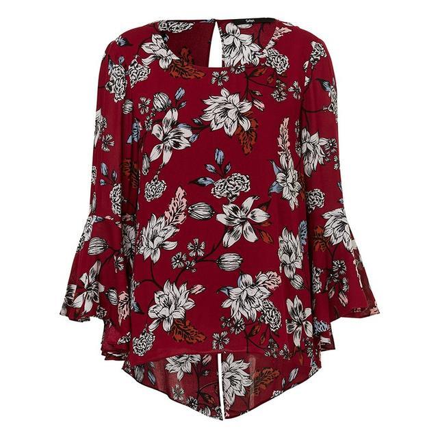 Sportsgirl Floral Flare Sleeve Top