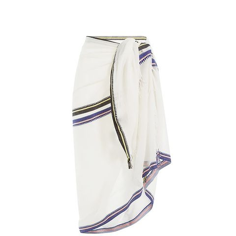 Cotton Wrap With Striped Trim