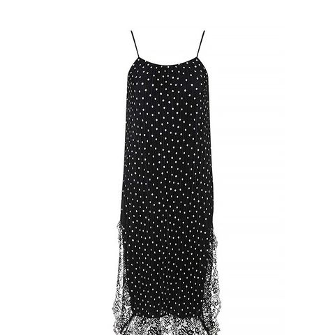 Spot Print Pleat Slip Dress