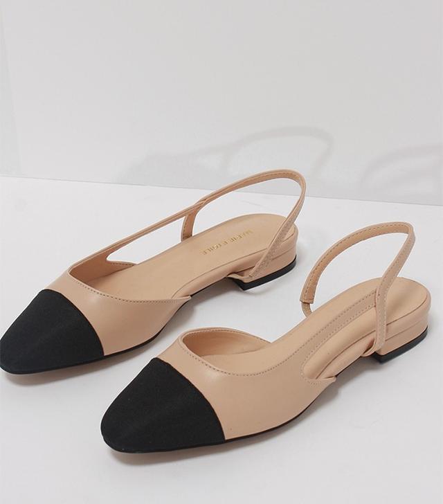 Loeil Two-Tone Slingback Low Heels