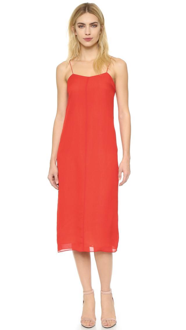 T by Alexander Wang Silk Slip Dress in Cherry