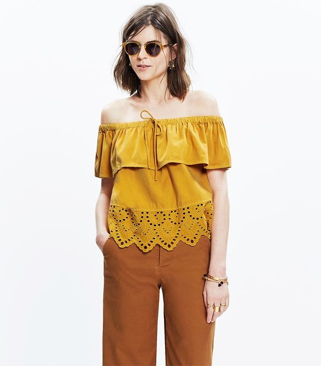 Madewell Eyelet Balcony Off-the-Shoulder Top