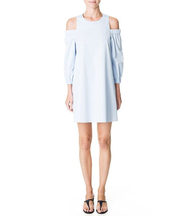 Tibi Satin Poplin Cut Out Shoulder Dress