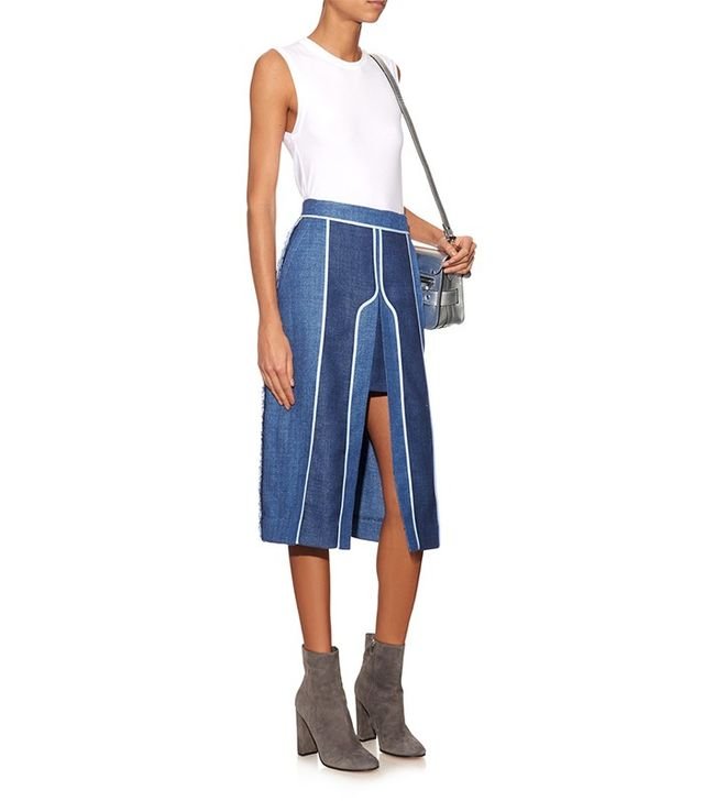 Acne Studios Kent Split Linen and Wool-Blend Skirt