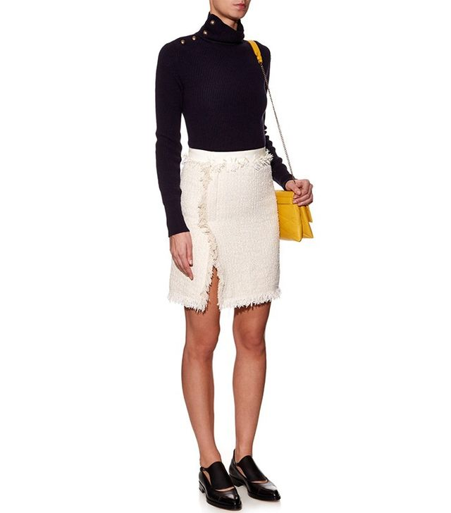 Lanvin Frayed Cotton-Blend Tweed Skirt