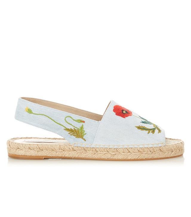Stella McCartney Ricio Poppy-Embroidered Denim Espadrilles