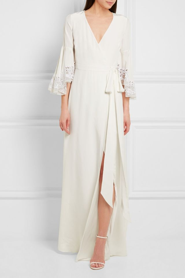 Temperley London Rosemary Embroidered Tulle-Trimmed Silk Crepe de Chine Gown