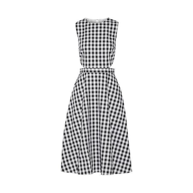 Tanya Taylor Cutout Gingham Midi Dress