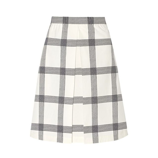Tory  Burch Checked Stretch-Cotton Polin Skirt