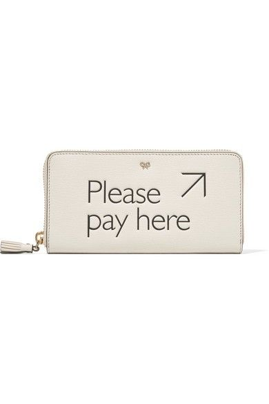 Anya Hindmarsh Please Pay Here Textured-Leather Continental Wallet