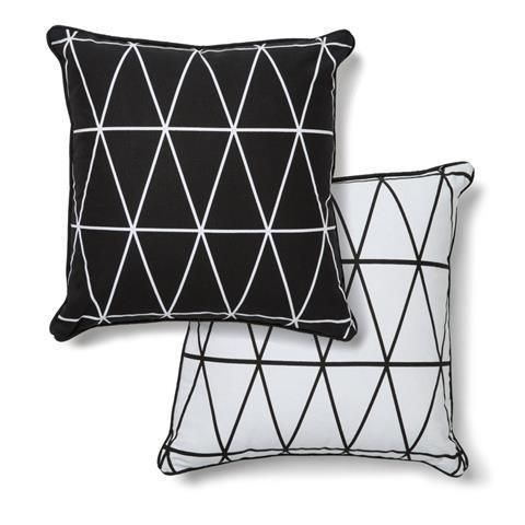 Kmart Monochrome Geo Print Cushion - Reversible