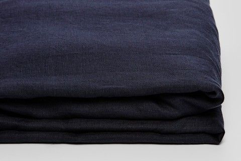 InBed Store 100% Linen Fitted Sheet in Navy