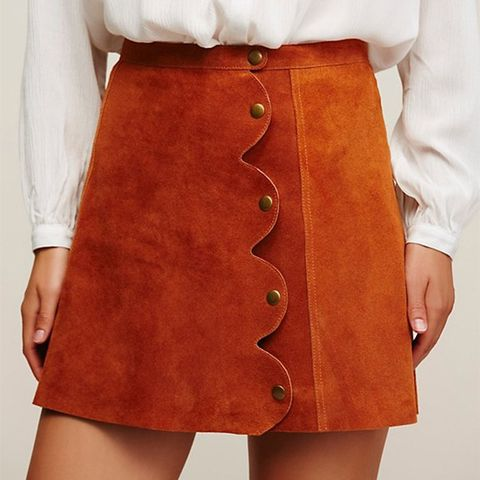 One on One Suede Mini Skirt