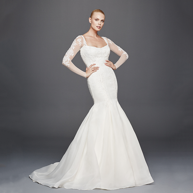 Truly Zac Posen Long Illusion Sleeve Wedding Dress
