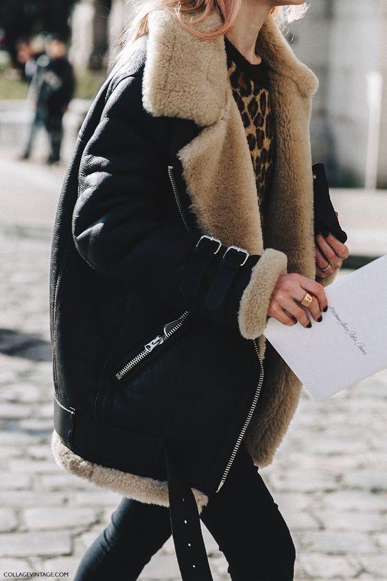 Shearling Coat + Black Jeans