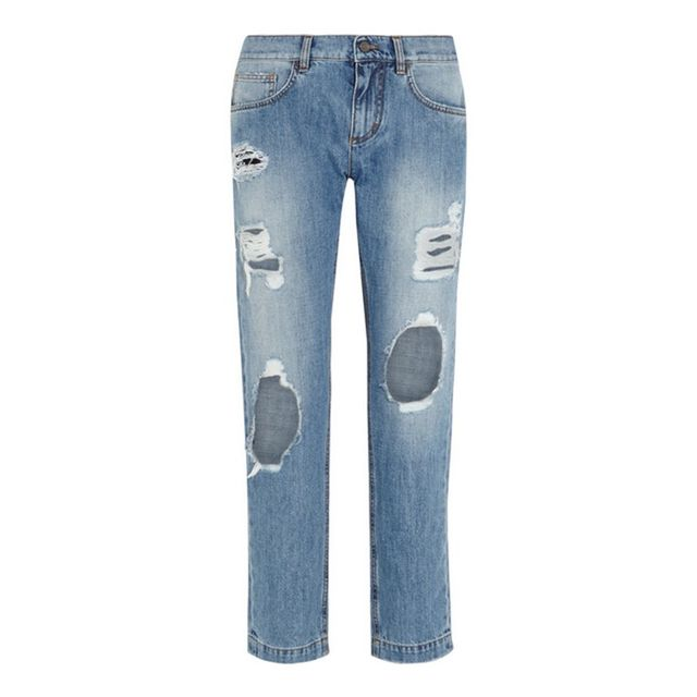 Dolce & Gabbana Distressed Mid-Rise Jeans