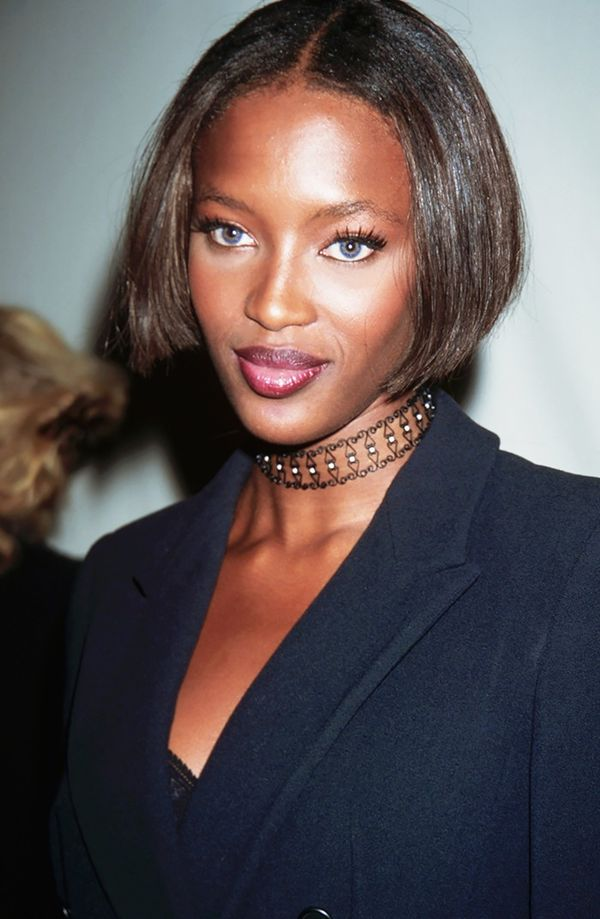 The supermodels of the '90s like Naomi Campbell, seen here in an Armani necklace, helped re-popularize the fancy choker.