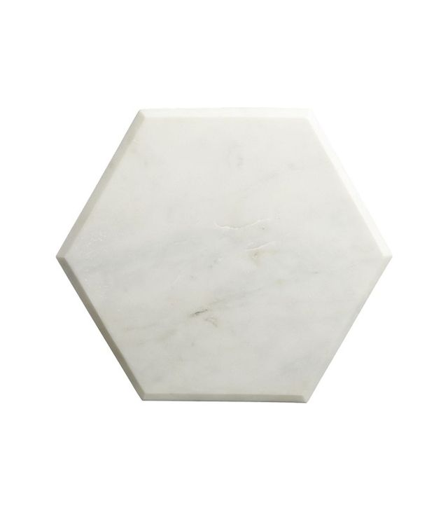"CB2 Hex 14""x12"" White Marble Board"