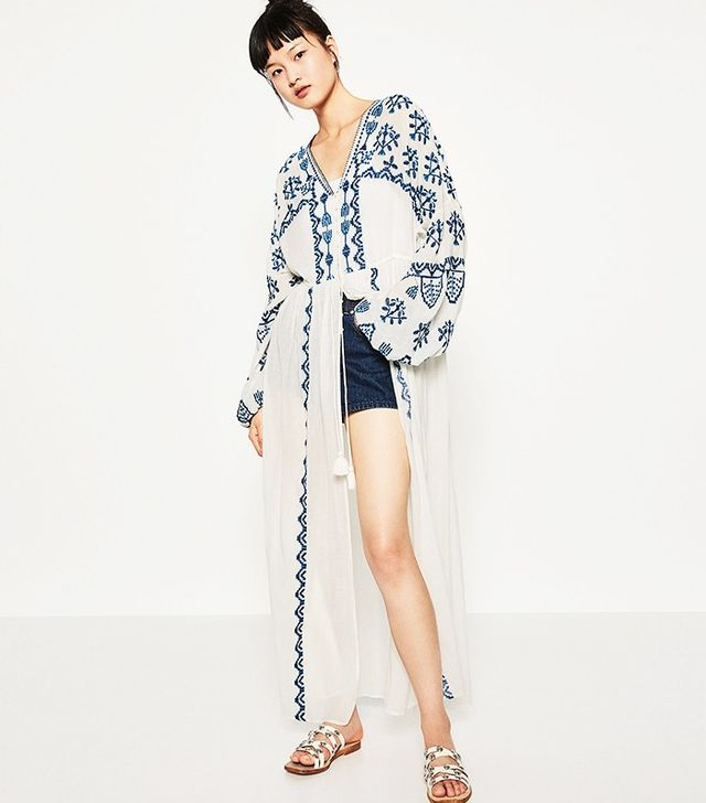 Zara Long Embroidered Robe