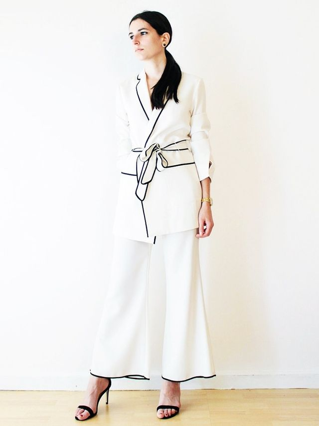 On Aria Di Bari: Zara Belted Blazer(£70) and Cropped Bell Bottom Trousers(£40).