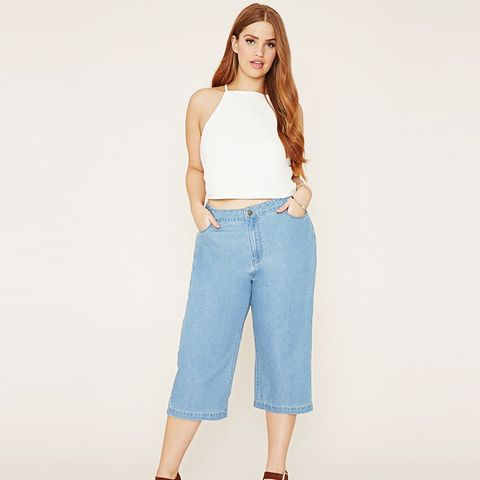 Plus Size Denim Culottes