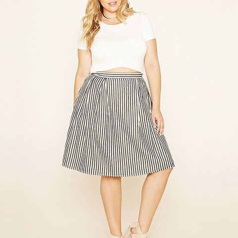 Plus Size Stripe Pleated Skirt