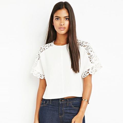 Contemporary Crochet-Paneled Raglan Top