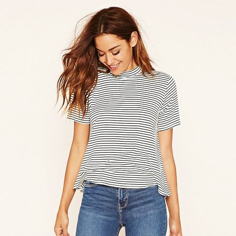 Mock Neck Striped Tee