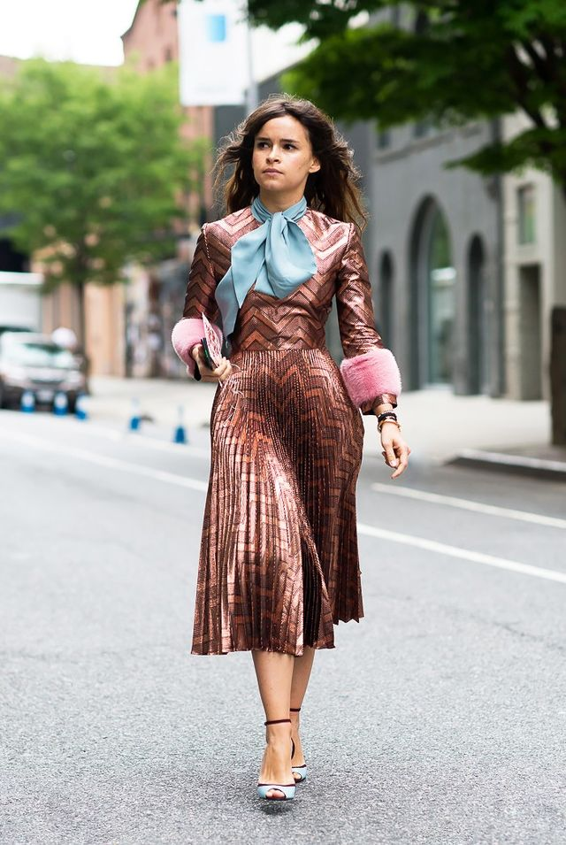 On Miroslava Duma: Gucci blouse and dress.