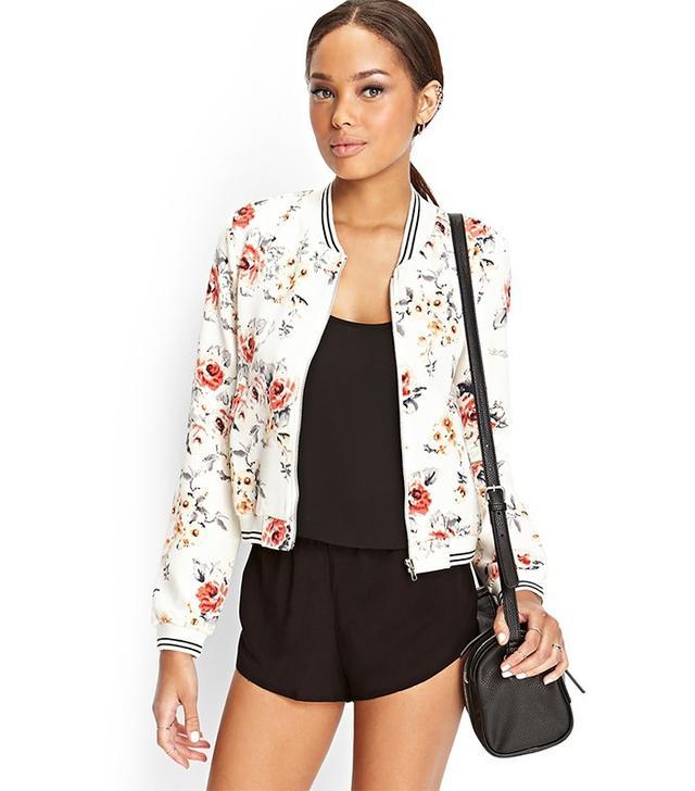 Forever 21 Floral Print Bomber Jacket