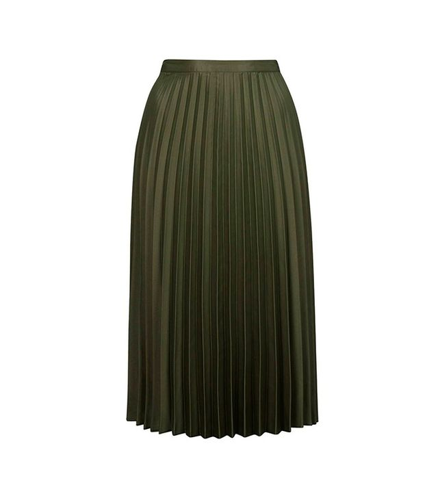 Topshop Pleated Satin Midi Skirt
