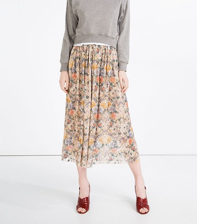 Zara Full Printed Lace Skirt