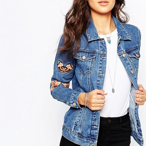 Tall Denim Jacket With Butterfly and Floral Embroidery