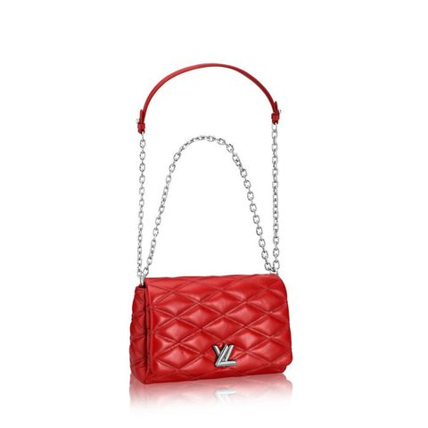 Red Quilted Lambskin Leather Malletage PM Bag