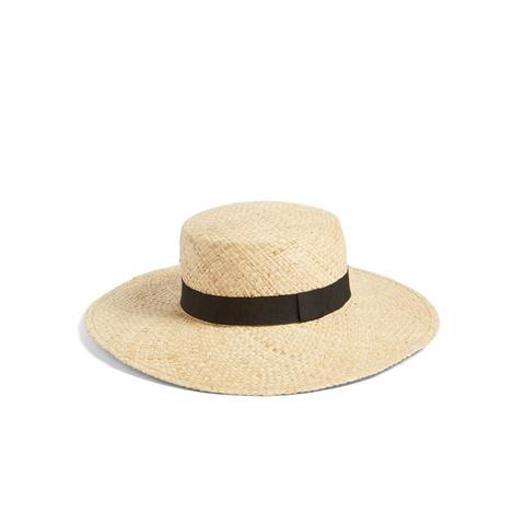 Wide Brim Raffia Boater Hat