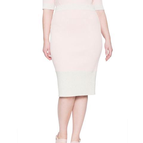 Ribbed Knit Column Skirt