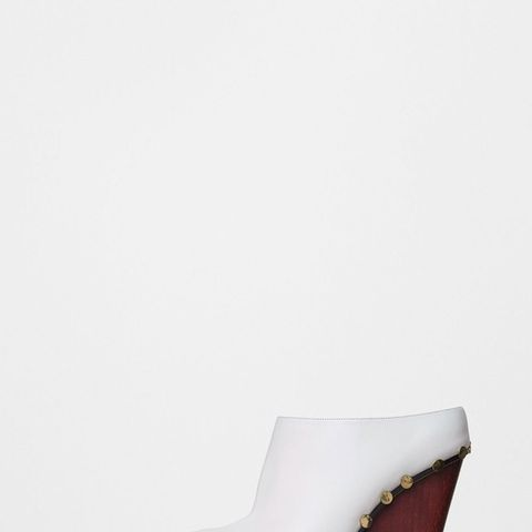 Rodeo High Mule With Studs in Optic White Calfskin