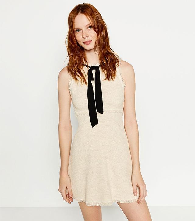 Zara Tweed Dress With Leather Skirt