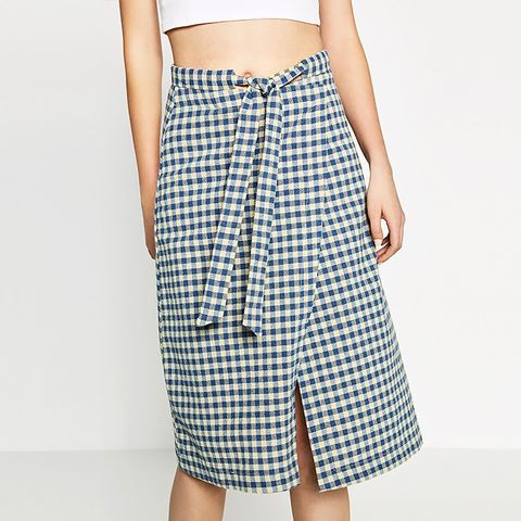 Check Skirt with Bow