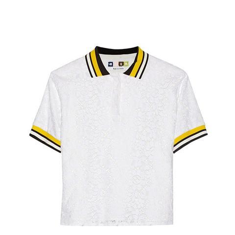 Cotton-Blend Lace Polo Shirt