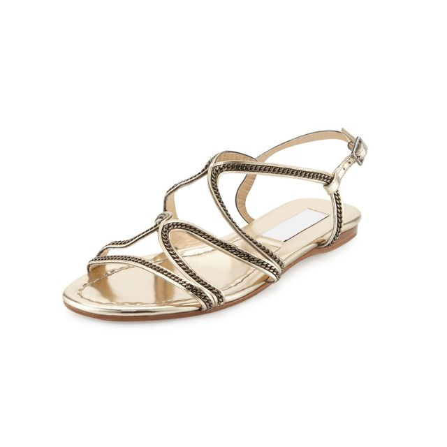 Jimmy Choo Nickel Chain Strappy Flat Sandals