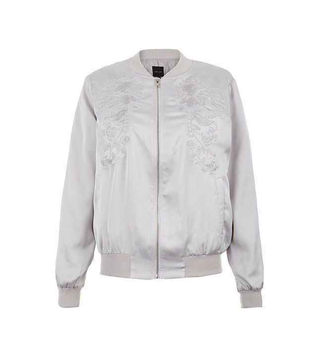 New Look Silver Embroidered Bomber Jacket