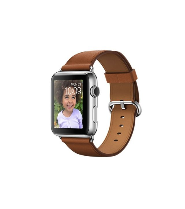 Apple Watch—Stainless Steel Case and Saddle Brown Classic Buckle