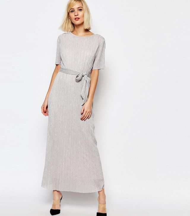 Selected Nune Maxi Dress in Metallic Crinkle