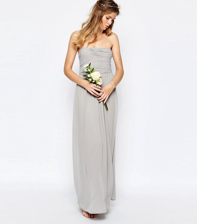 Vila Ruched Bodice Bandeau Maxi Dress