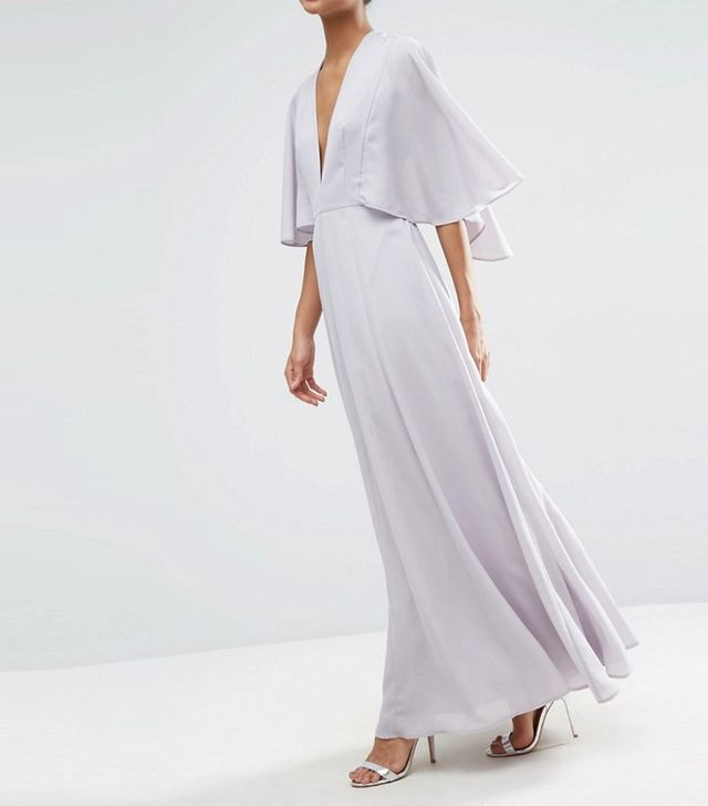 ASOS Deep Plunge Cape Sleeve Maxi Dress